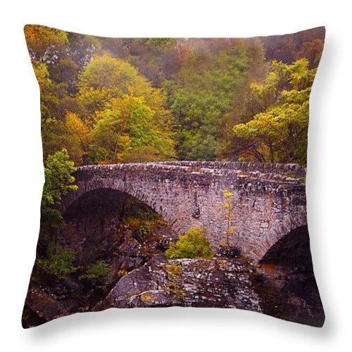 Scotland Throw Pillow featuring the photograph Old Stone Bridge. Scotland by Jenny Rainbow
