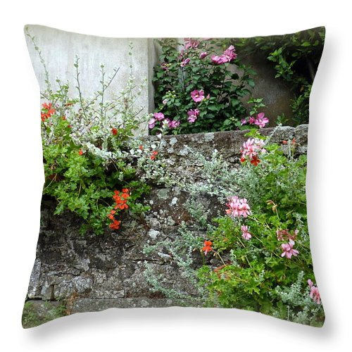 Stone Wall Throw Pillow featuring the photograph Old Stone Wall by Carla Parris