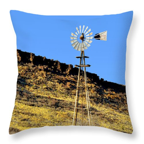 Windmills Throw Pillow featuring the photograph Old Texas Farm Windmill by Christine Till