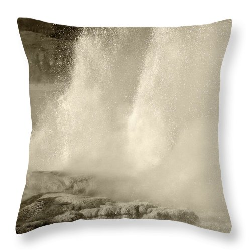 Geyser Throw Pillow featuring the photograph Old Time Geyser by Carolyn Fox