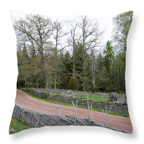 Ahead Throw Pillow featuring the photograph Old Time Gravel Road by Kennerth and Birgitta Kullman