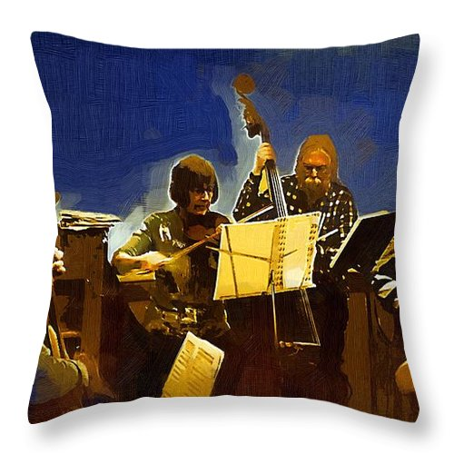 Musicians Throw Pillow featuring the painting Old Time Music by RC DeWinter