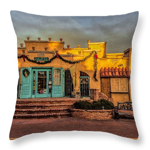 Old Town Albuquerque Throw Pillow featuring the photograph Old Town Emporium by Diana Powell