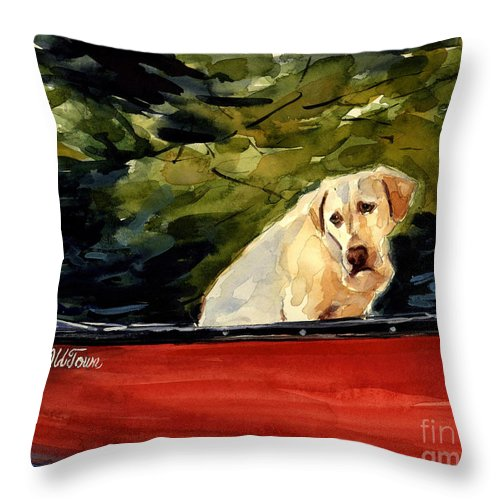 Yellow Labrador Retriever Throw Pillow featuring the painting Old Town by Molly Poole
