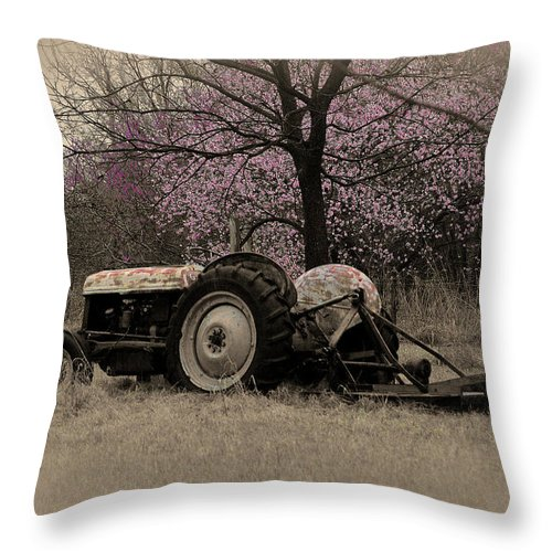 Tractor Throw Pillow featuring the photograph Old Tractor And Redbuds Sepia by Jill Westbrook