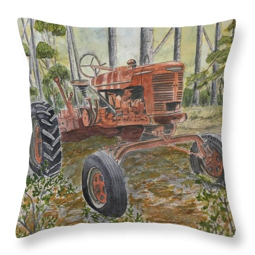 Old Throw Pillow featuring the painting Old Tractor Vintage Art by Derek Mccrea