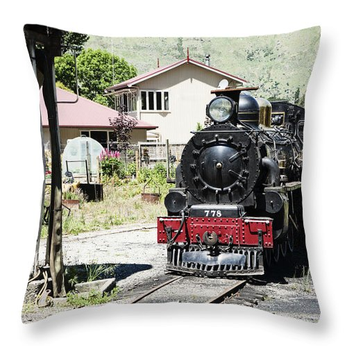 Train Throw Pillow featuring the photograph Old Train Engine by Alexey Stiop