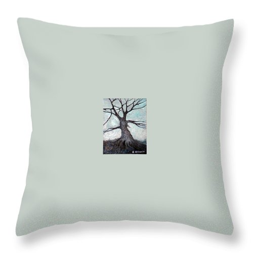 Landscape Throw Pillow featuring the painting Old Tree by Sergey Bezhinets