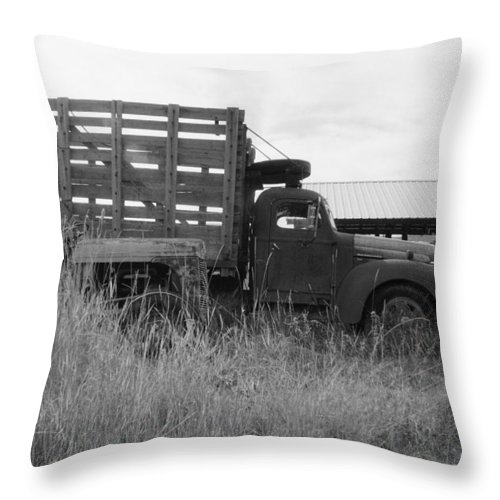 Old Truck Throw Pillow featuring the photograph Old Truck by Mike Wheeler
