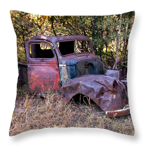 Truck Throw Pillow featuring the photograph Old Truck - Purtis Creek by Allen Sheffield