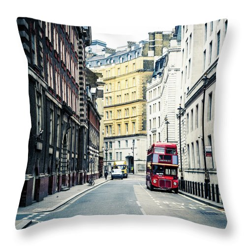 Downtown District Throw Pillow featuring the photograph Old Vintage Red Double Decker Bus In by Zodebala