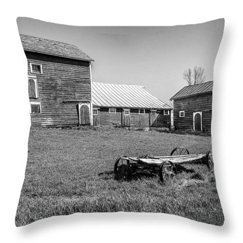 Old Throw Pillow featuring the photograph Old Wagon And Barns by Ray Summers Photography