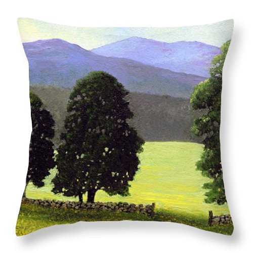 Landscape Throw Pillow featuring the painting Old Wall Old Maples by Frank Wilson