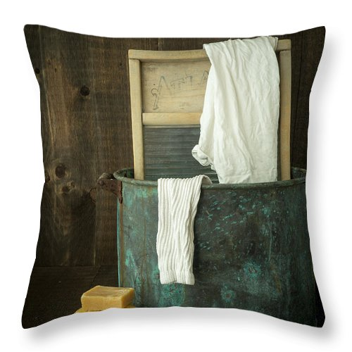 Laundry Throw Pillow featuring the photograph Old Washboard Laundry Days by Edward Fielding