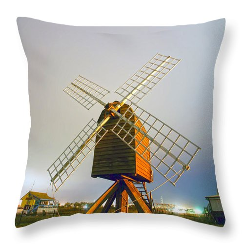 White Throw Pillow featuring the photograph Old Wind Mill by Alex Grichenko