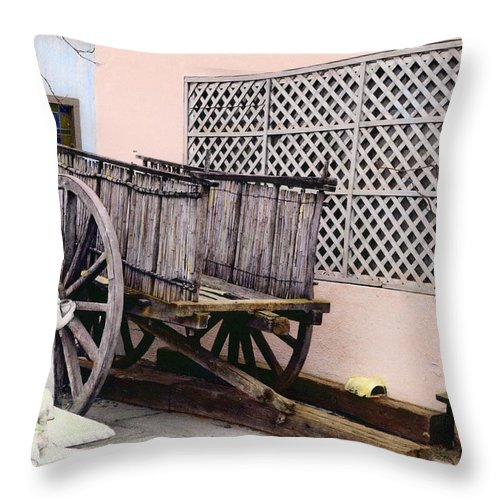 Old Throw Pillow featuring the photograph Old Wooden Wagon by Marilyn Hunt