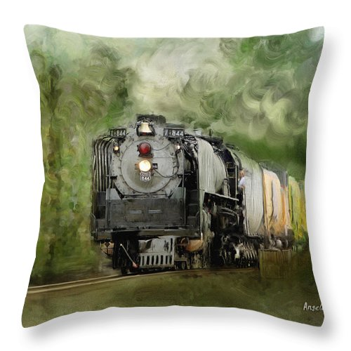 Stem Throw Pillow featuring the painting Old World Steam Engine by Angela Stanton