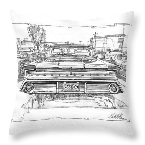 Oldsmobile 88 Drawing Throw Pillow featuring the drawing Oldsmobile 88 Study by Garth Glazier