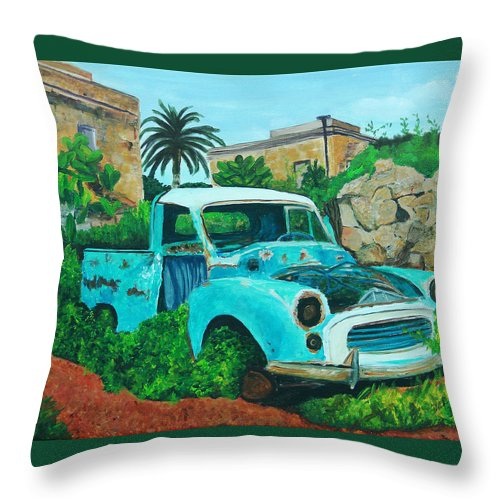 Old Blue Truck Throw Pillow featuring the painting Ole Blue by Frankie Picasso