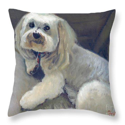 Dog Painting Throw Pillow featuring the painting Olie by Candace Lovely