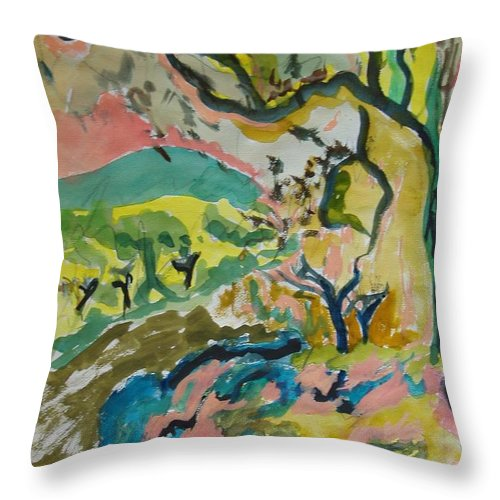 Olive Orchard Throw Pillow featuring the painting Olive Orchards by Esther Newman-Cohen