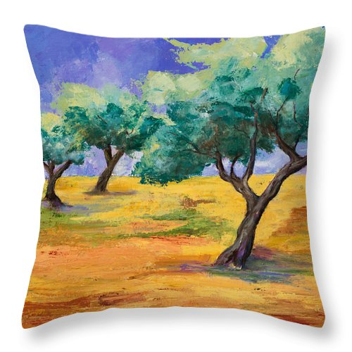 Olive Tree Grove Throw Pillow featuring the painting Olive Trees Grove by Elise Palmigiani