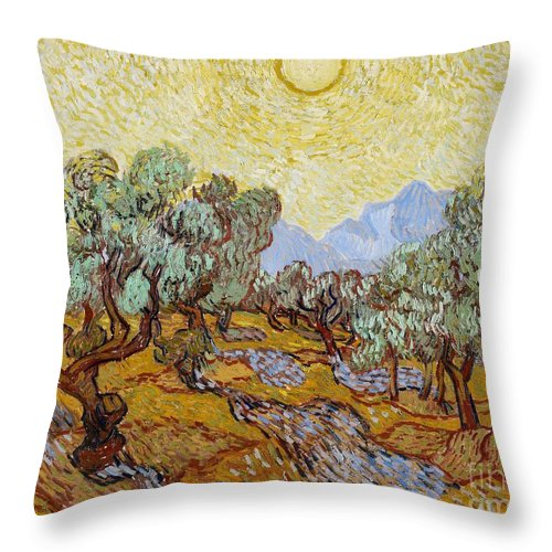 Van Throw Pillow featuring the painting Olive Trees by Vincent Van Gogh