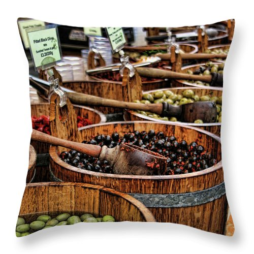 Olives Throw Pillow featuring the photograph Olives by Heather Applegate