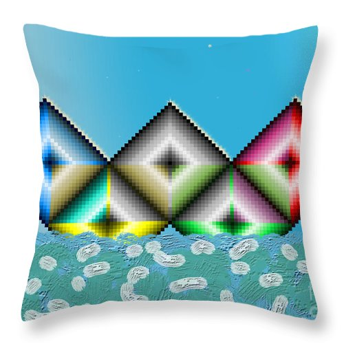 Nature Throw Pillow featuring the digital art Olympic Boat by Frank Tendrum