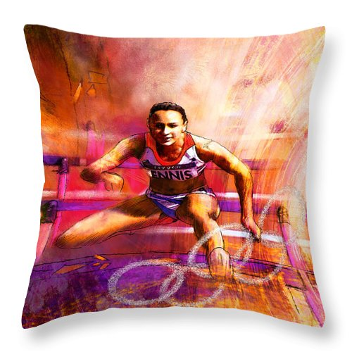 Sports Throw Pillow featuring the painting Olympics Heptathlon Hurdles 02 by Miki De Goodaboom
