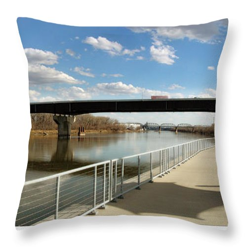Omaha Throw Pillow featuring the photograph Omaha The Riverfront by John Anderson