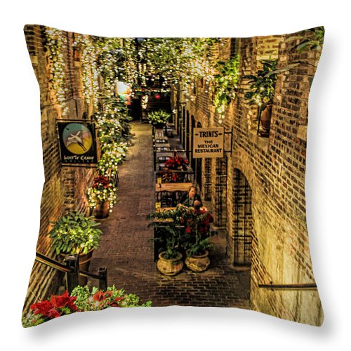 Old Market Historic District Throw Pillow featuring the photograph Omaha's Old Market Passageway by Elizabeth Winter