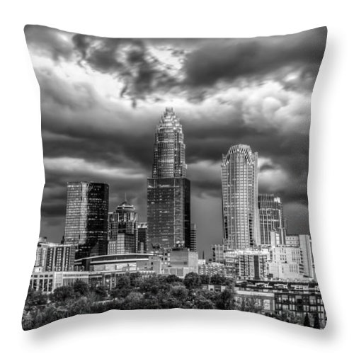 Charlotte Throw Pillow featuring the photograph Ominous Charlotte Sky by Chris Austin