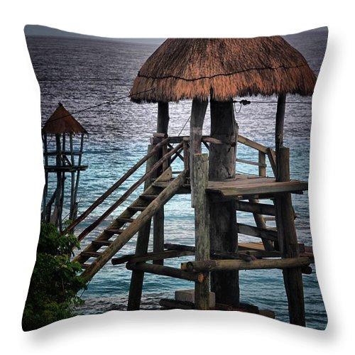 Landscape Throw Pillow featuring the photograph On 2 -ready-hut Hut by Robert McCubbin
