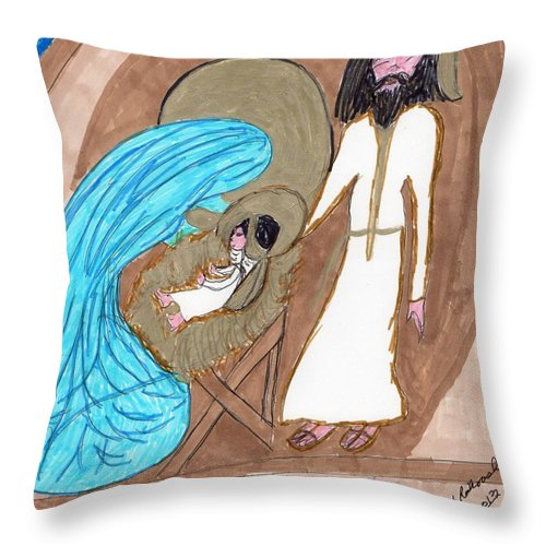 Manger And Gifts From 3 Wise Men Throw Pillow featuring the mixed media On A Cold Winters Night by Elinor Helen Rakowski
