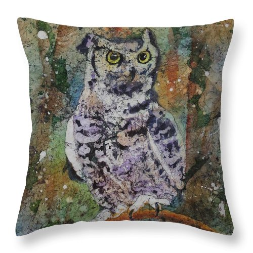 Owl Throw Pillow featuring the painting On Alert by Ruth Kamenev