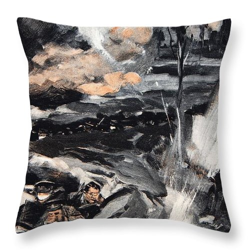 Trenches Throw Pillow featuring the drawing On An Occasion When The German Poison by Cyrus Cuneo