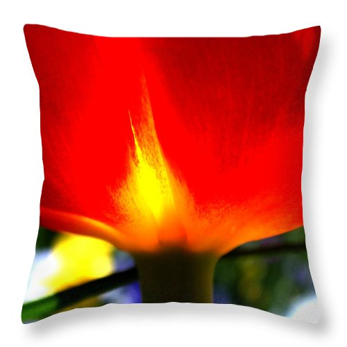 Red Throw Pillow featuring the photograph On Fire by Rona Black