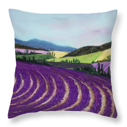 Interior Throw Pillow featuring the painting On Lavender Trail by Anastasiya Malakhova
