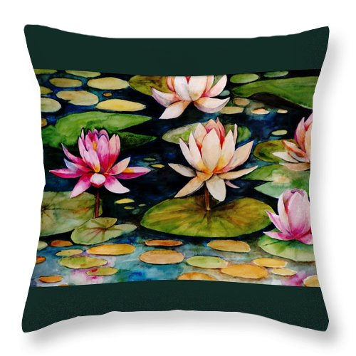 Lily Throw Pillow featuring the painting On Lily Pond by Jun Jamosmos