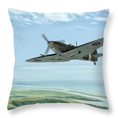 Air Throw Pillow featuring the painting Spitfire On Patrol by John Edwards