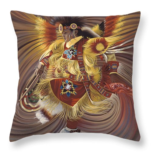 Sacred Throw Pillow featuring the painting On Sacred Ground Series 4 by Ricardo Chavez-Mendez