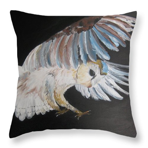 Owl Throw Pillow featuring the painting On Silent Wings by Cathy Jacobs