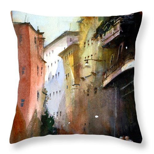 Venice Throw Pillow featuring the painting On the Canal - Venice by Charles Rowland