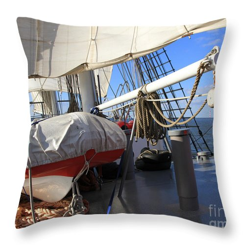Eye Throw Pillow featuring the photograph On The Deck Of A Sailing Ship by Four Hands Art