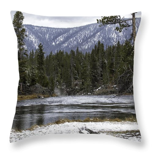 Gallatin River Throw Pillow featuring the photograph On The Gallatin by Carolyn Fox