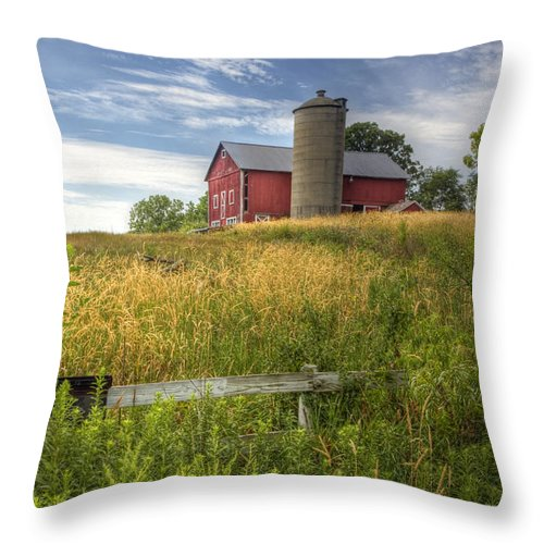 Barn; Silo; Farm; Field; Corn; Blue; Red; Green; Bright; Vibrant; Saturate; Saturated; Colors; Colours; Colorful; Leaves; Fence; Pretty; Sky; Place; Weeds; Rural; Open; Land; Landscape; Trees; Growth; Surreal; Hill; Hilltop Throw Pillow featuring the photograph On The Hilltop by Margie Hurwich
