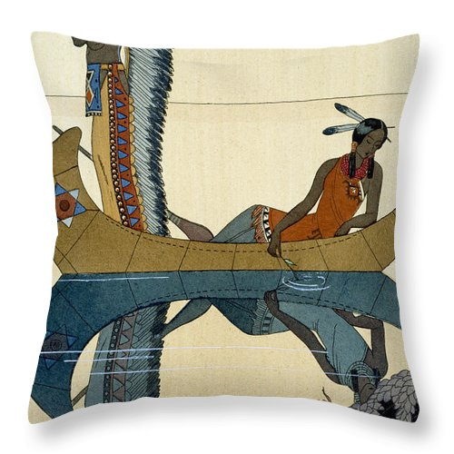 Le Long Du Missouri Throw Pillow featuring the painting On the Missouri by Georges Barbier