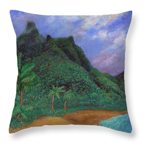 Coastal Decor Throw Pillow featuring the painting On The North Shore by Kenneth Grzesik