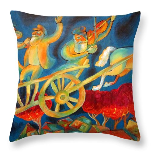 Judaica Painting Throw Pillow featuring the painting On The Road To Rebbe by Leon Zernitsky
